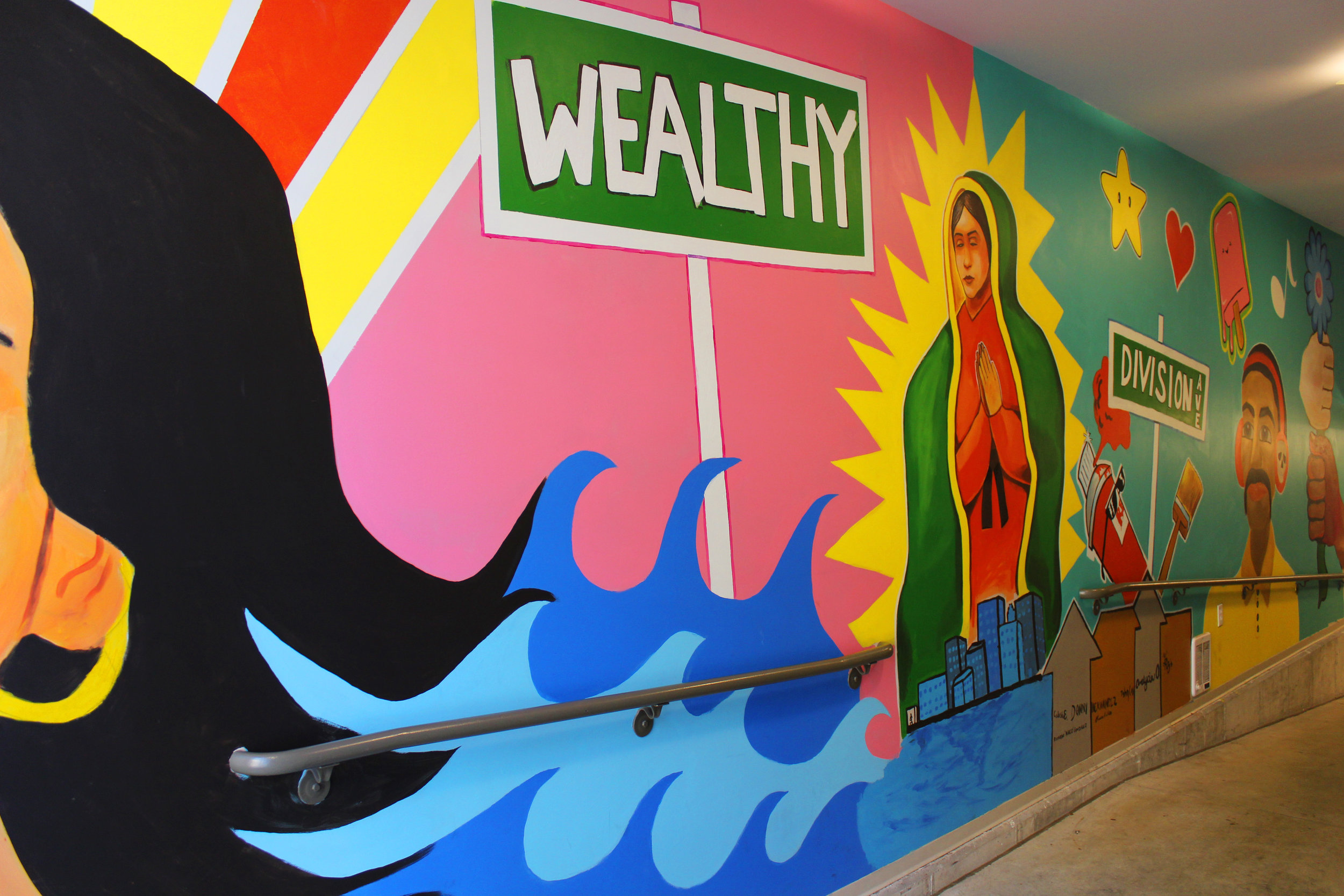 Multicultural inspired mural in Gallery parking ramp