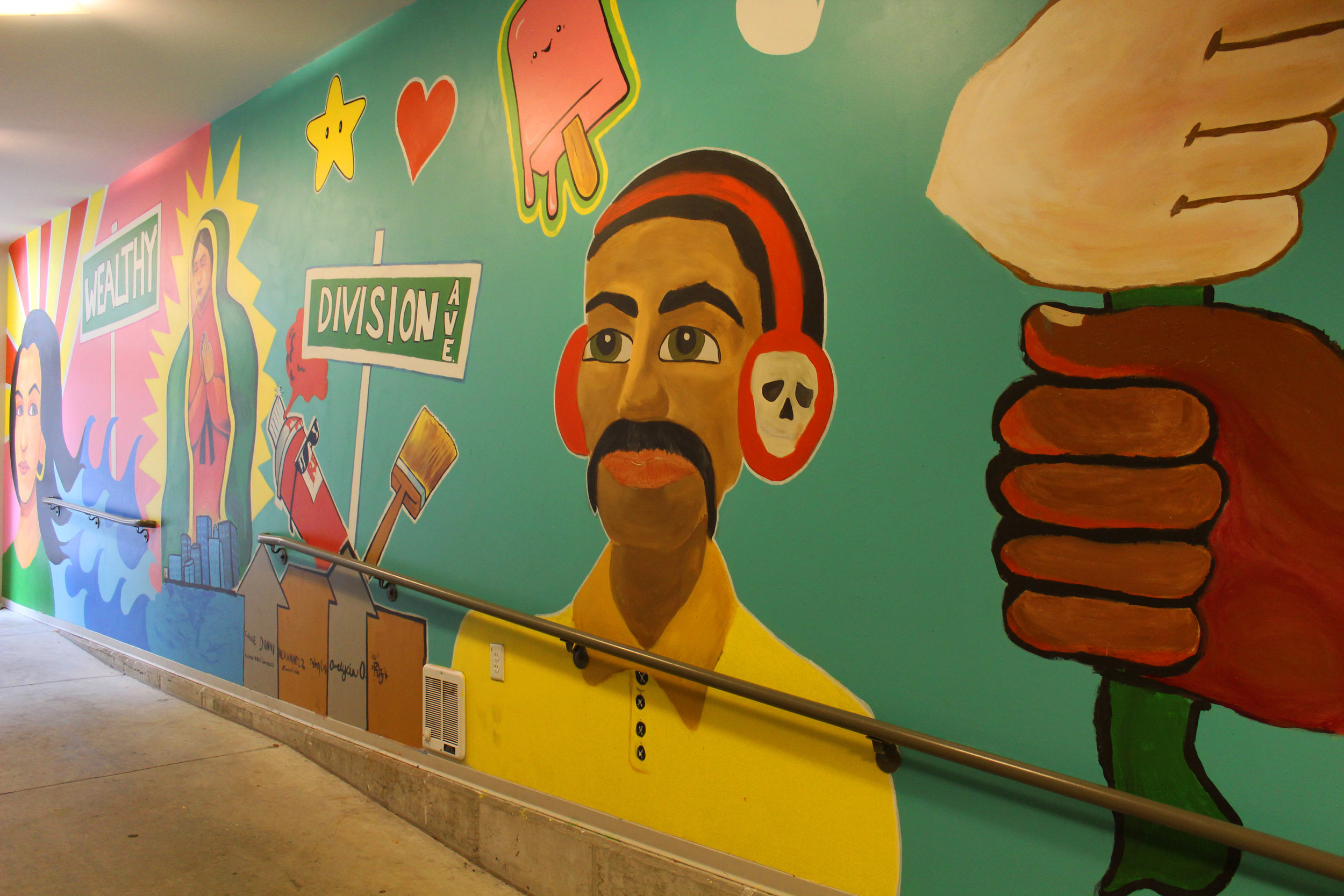 Multicultural mural in Gallery parking ramp