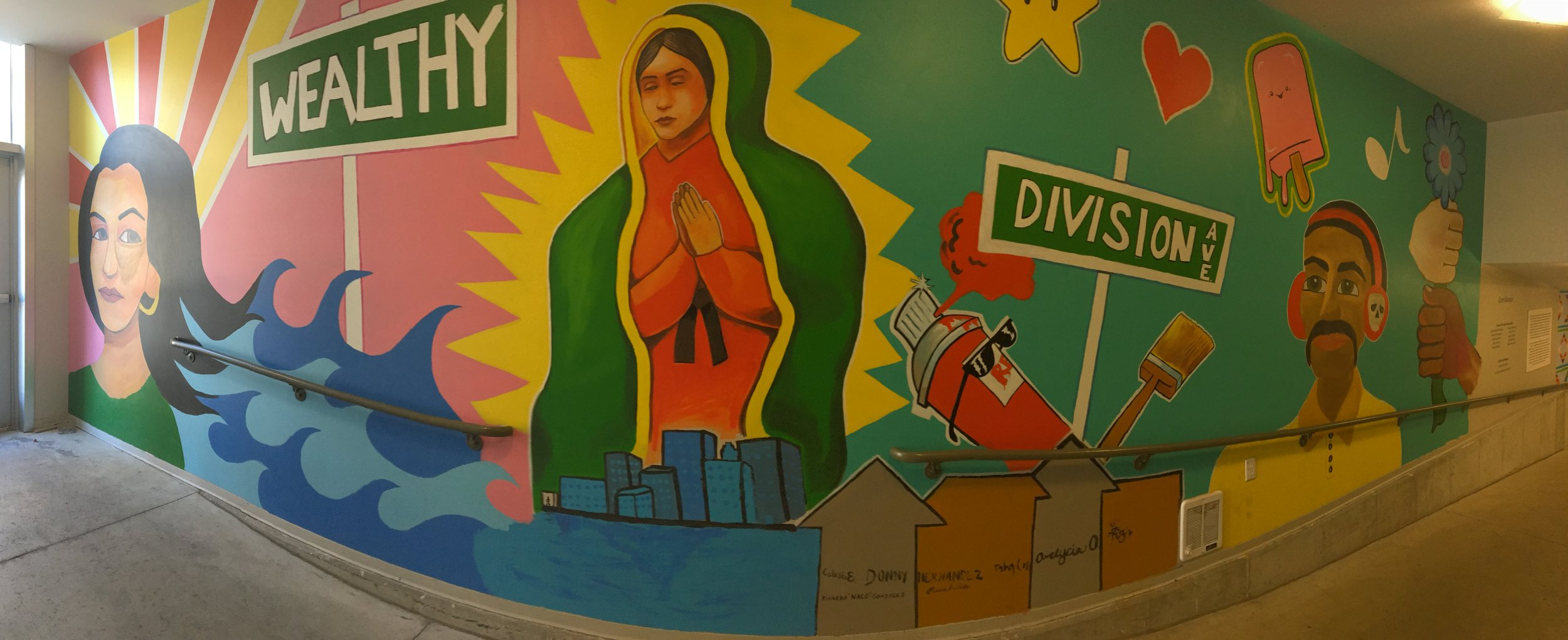 Multicultural mural in Gallery parking ramp (panoramic view)