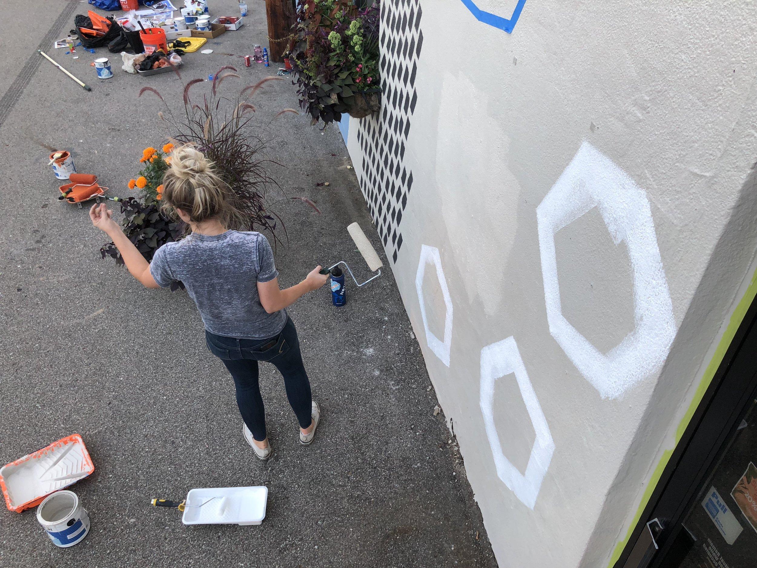 UICA Outside Creston mural in progress