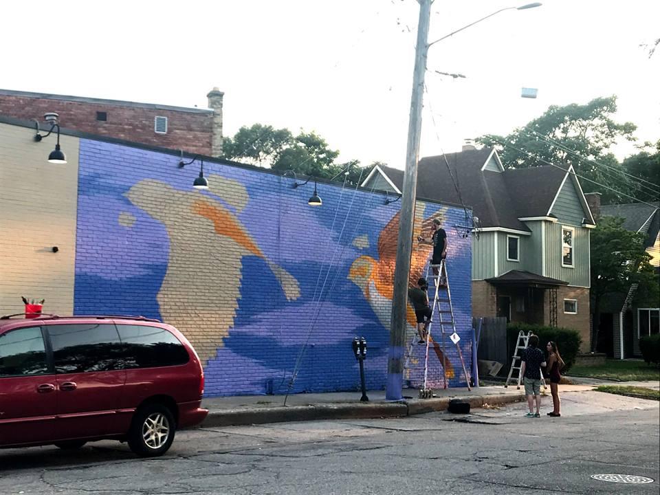 Nick Nortier mural in progress in Creston