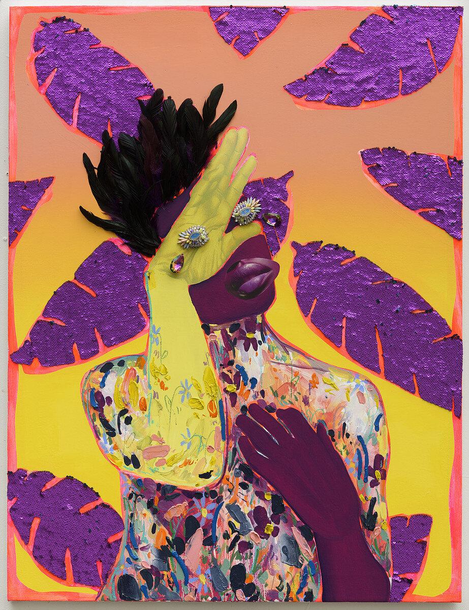 Devan Shimoyama,  Crowned , mixed media on canvas, 2017.