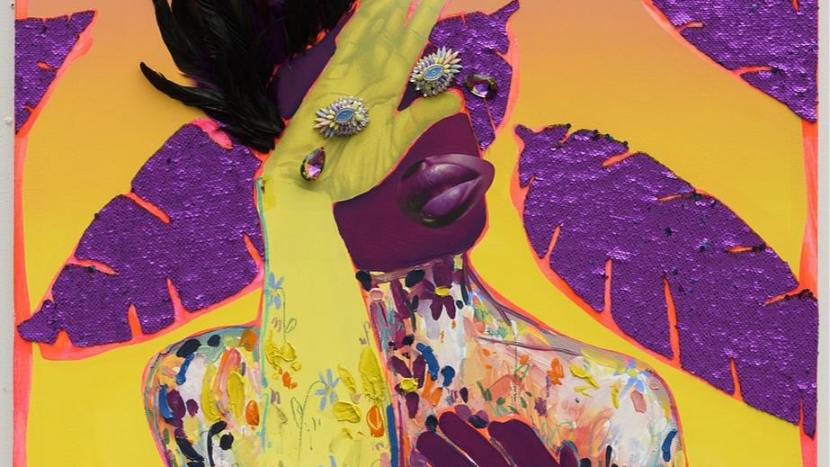 Detail: Devon Shimoyama,  Crowned , mixed media, 2017