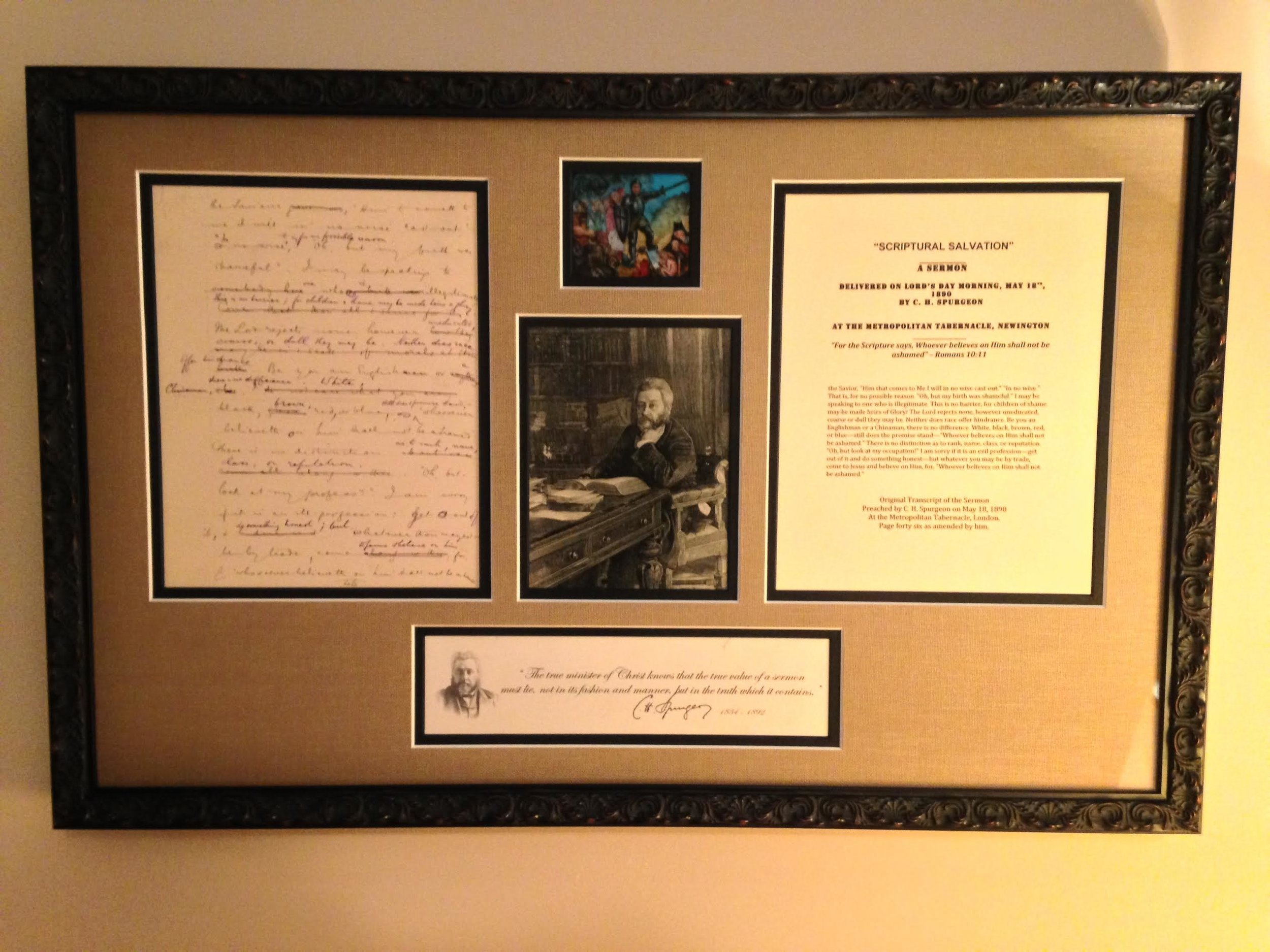 Framed nicely with a magic lantern slide and parchment. -