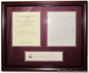 Framed sample of the Sermon Manuscript page with 11×3 inch parchment paper with image and printed signature of C. H. Spurgeon. -