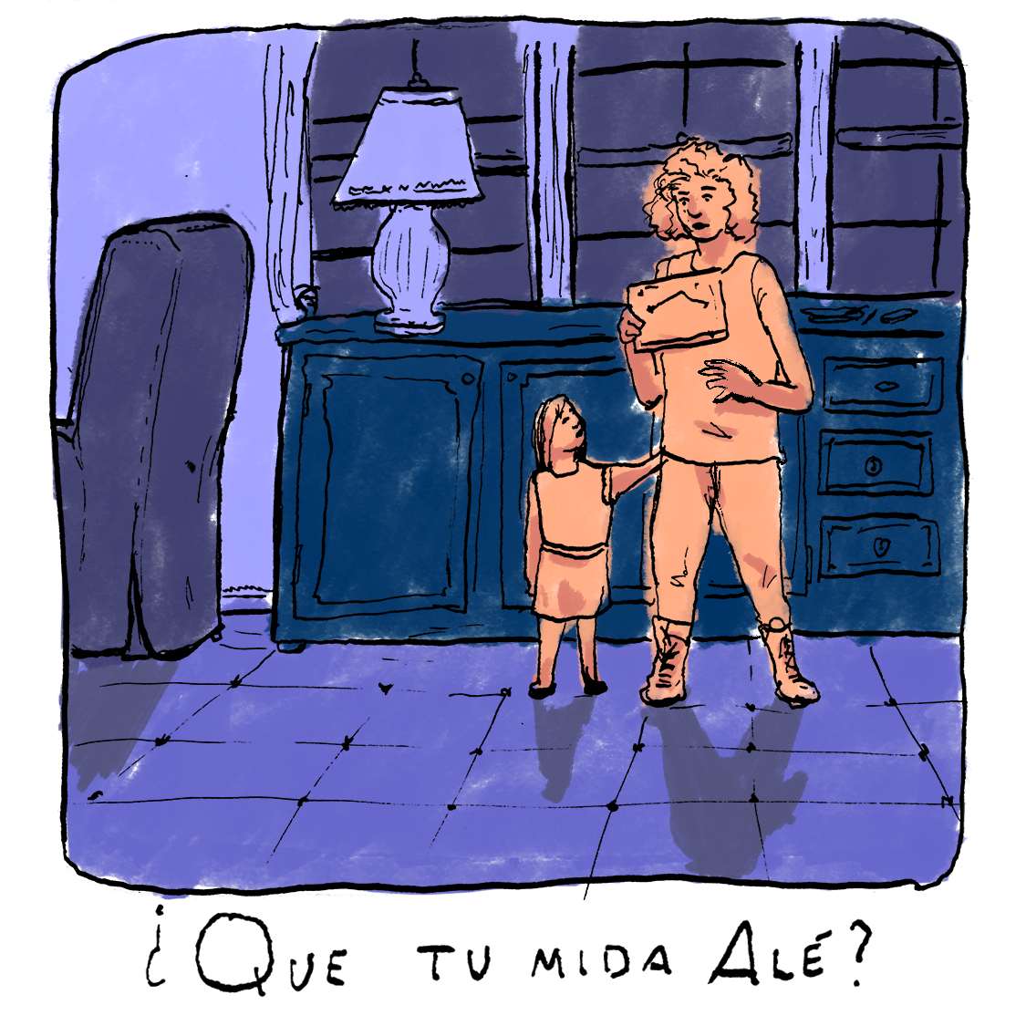 Description: Illustration of young girl looking up at a middle-aged woman, who is holding a framed photo. The caption reads ¿Que tu mida alé?