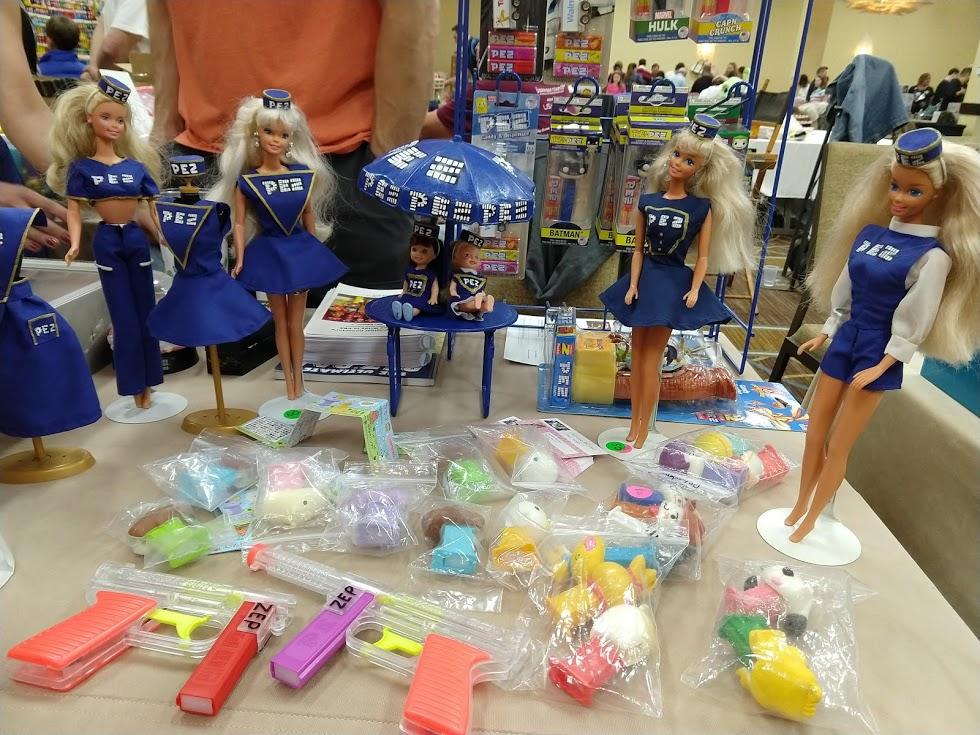 Handmade Barbie PEZ girl outfits.