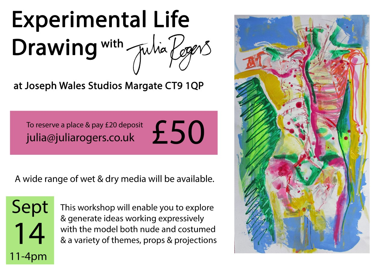 Experimental Life Drawing Class - September 14th | 11-4pmTo resesrve a place & pay £20 deposit email julia@juliarogers.co.uk