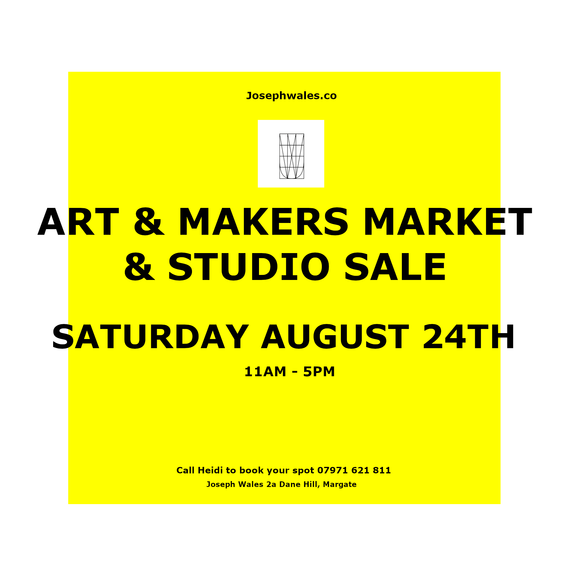 Art and Makers Market And Studio Sale - Bookings now being taken for our next fantastic Art & Makers Market. If you paint things, make things, draw things, sew things, print things, collage things, design things, photograph things, write things, then this is the place to show those things to the world! The world wants to see them and buy them! Joseph Wales Studio holders will also have some of their fabulous creations for sale!To secure your £15 pitch, e-mail Heidi josephwalesstudios@gmail.com .