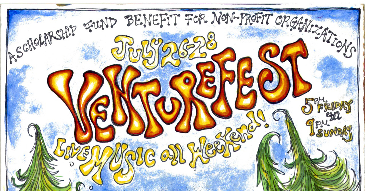Join us at Venture Fest! - Join us July 26th-28th as we rock out for a good cause. This festival will benefit our new scholarship fund which will support non-profit organizations who would like to host their programs, classes, workshops and retreats at Venture Retreat Center.Bands preforming include:Mathew Ricketts, John Henry Band, Pathetic Honey, Mystic Cowboy, Los Trobadoux, Lithoose, Georgi & The Rough Week, Bittersweet, Curtis & Co., Saxyman & The Ladds, Stoney Mountain Ramblers, Blue Avenue, Escobar & Friends, G Man & Hot Jesus, Bundy Browne, This Way Up.Food, beverages, camping and art will be on sale throughout the weekend. In addition to the bands there will be belly dancers, a fire dancer, games and other activities for all. Kids are welcome, but must be supervised at all times.