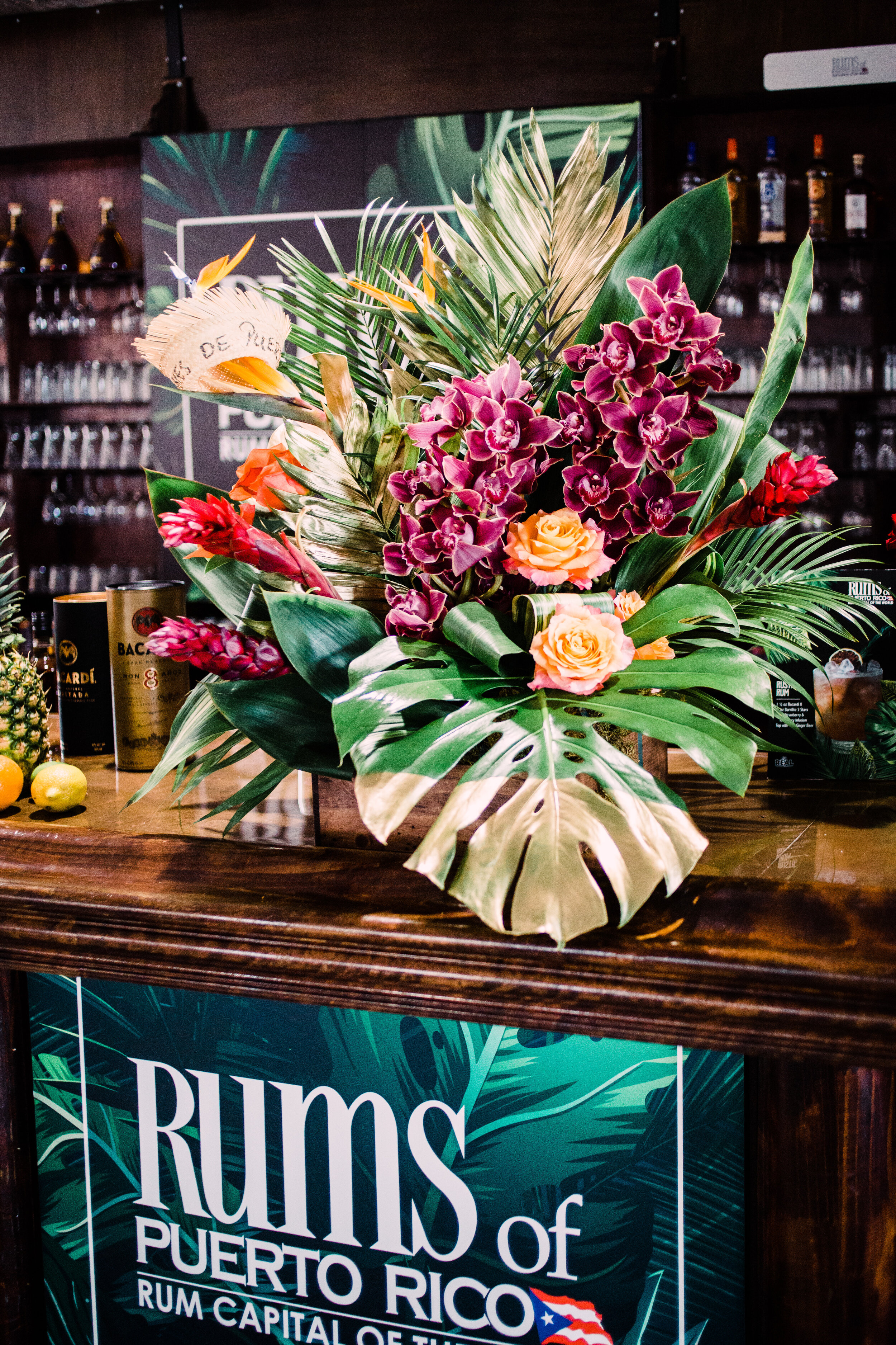 Rum bar with flowers