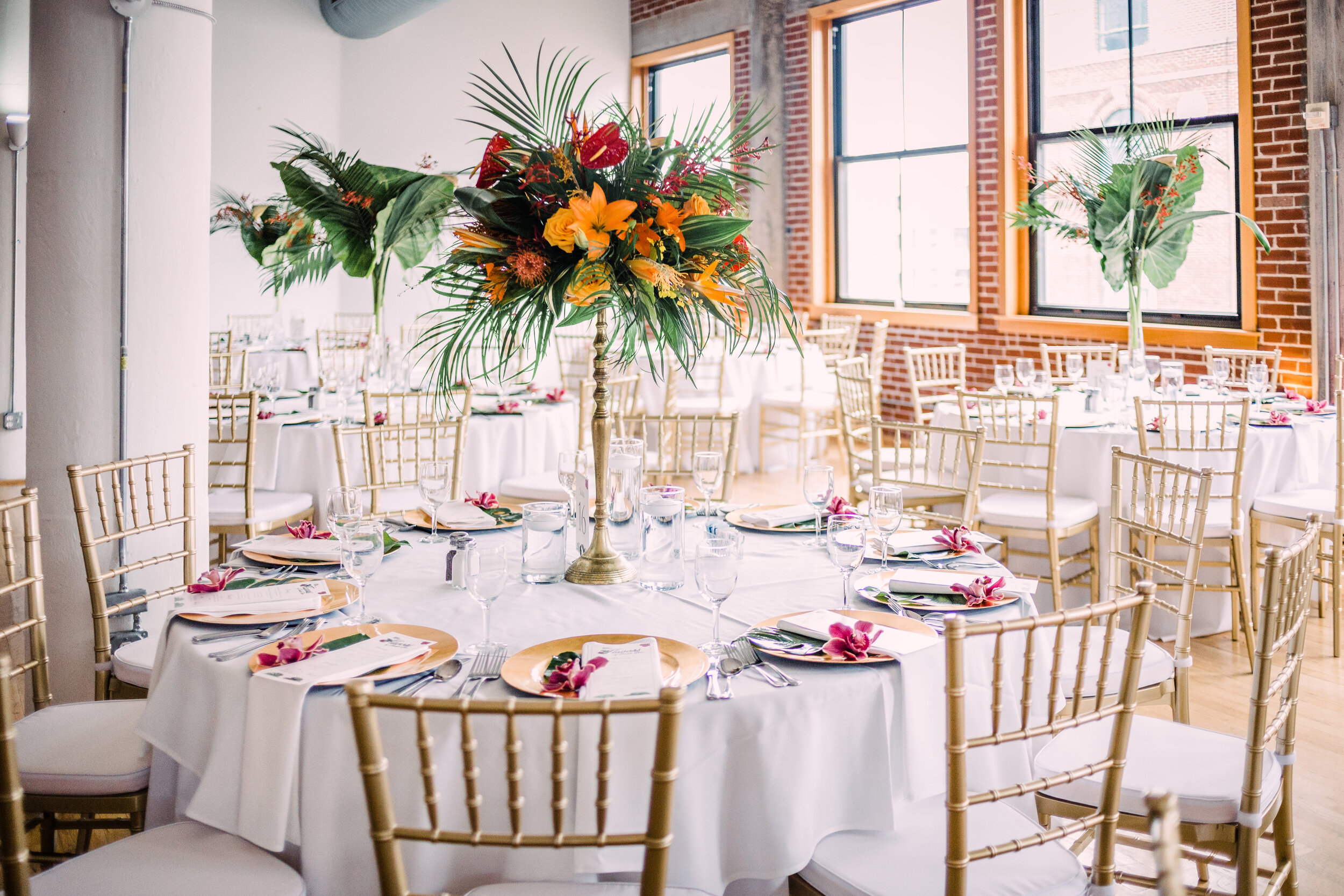 white linens and chairs