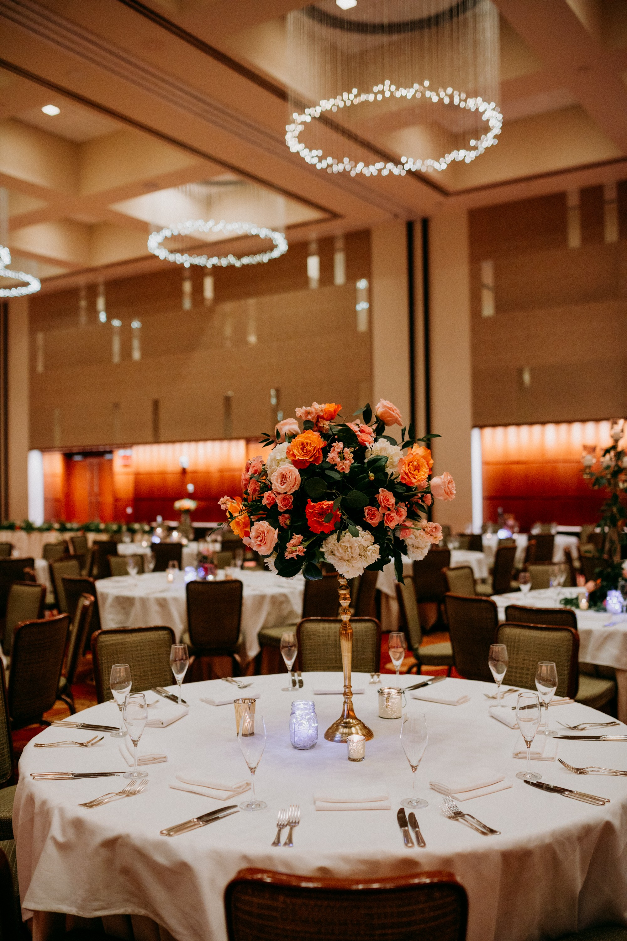 Gold Tower Floral Centerpieces