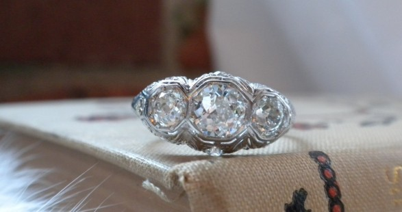 Platinum and diamond vintage three stone ring