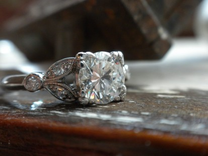Vintage organic solitaire engagement ring