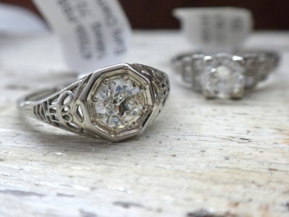 1950's filigree and diamond engagement ring