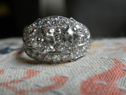 Antique two stone right hand ring