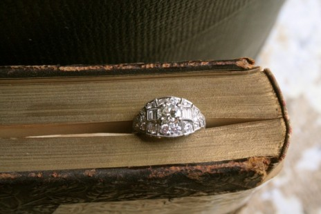 Deco diamond cluster ring