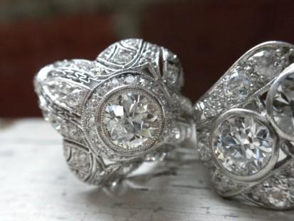 Deco diamond right hand ring with bezel set center stone