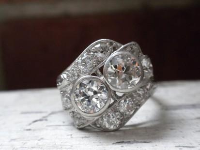 Platinum and diamond right hand ring