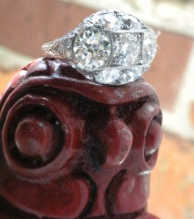 7 stone platinum and diamond ring