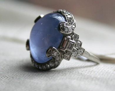 Deco diamond set cabochon sapphire