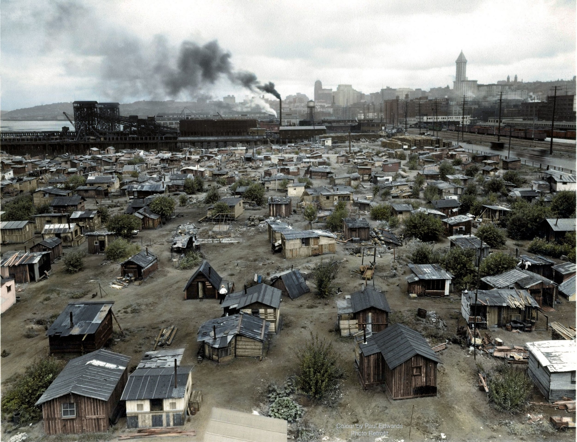 Hooverville in Seattle, 1937. See:  Encampment