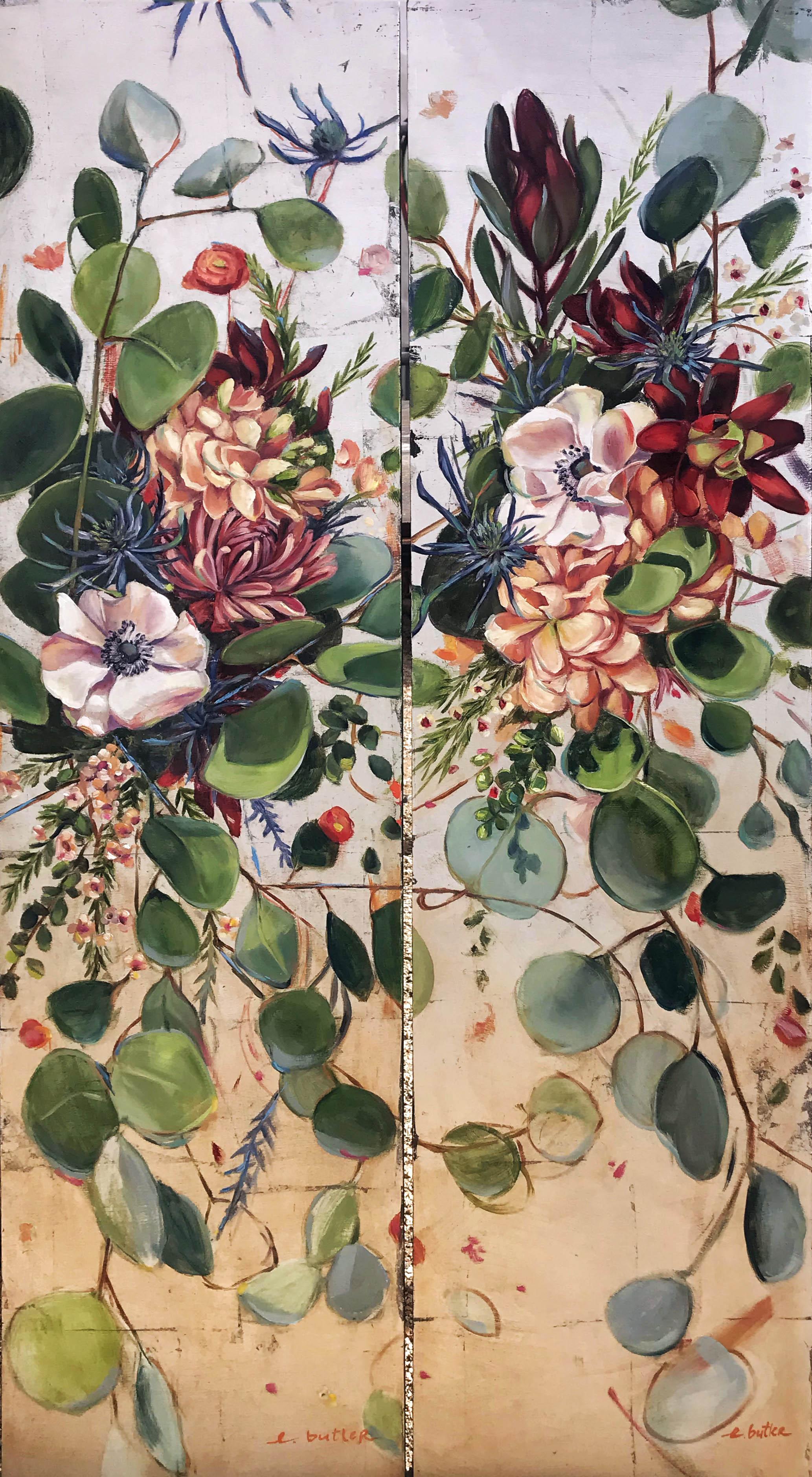 Silver Splendor Floral Diptych