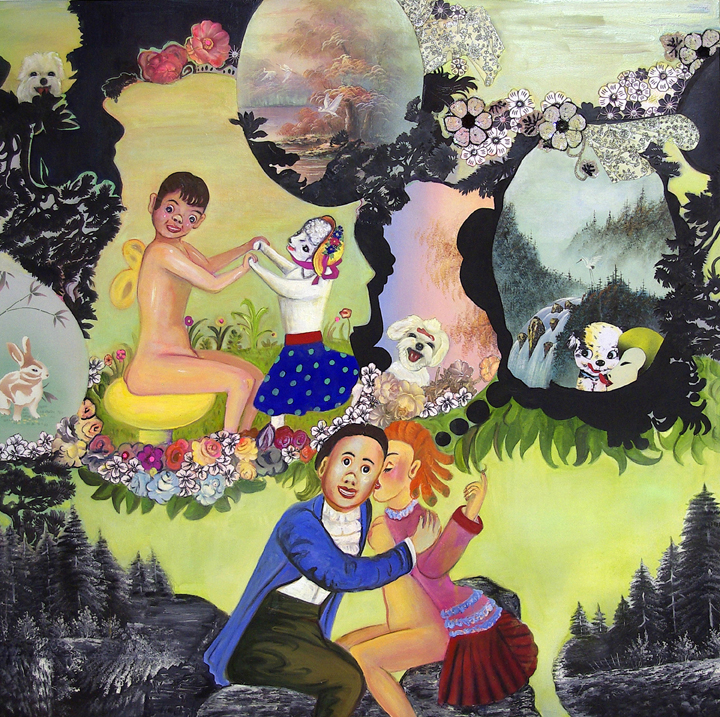 "A Complicated Story of Unintentional Detours, 60"" × 60"", mixed media and collage on canvas, 2008"