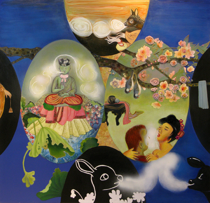 "Breathing Lessons, 60"" × 60"", mixed media and collage on canvas, 2008"