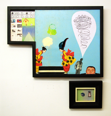 "Kerfuffle: The Result of Arguing, 32"" × 30"", mixed media and collage on canvas, 2008"