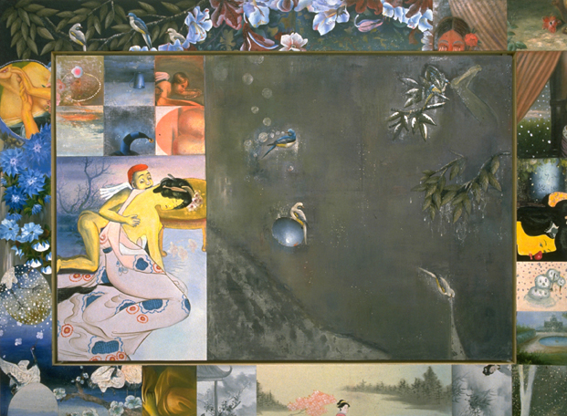 """Cupids Regret, 60.5"""" × 96.5"""", mixed media on canvas, 1996"""