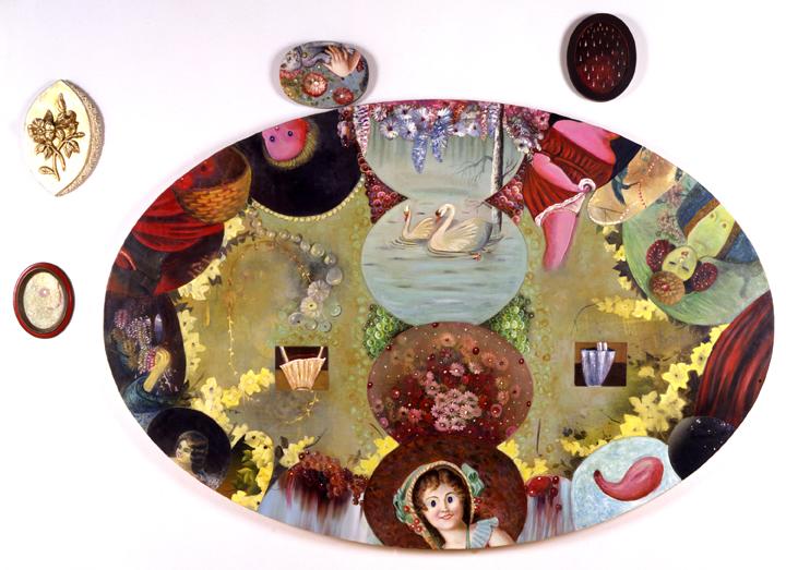 "Garden of Girls, 84"" × 84"", mixed media on canvas, 1994"