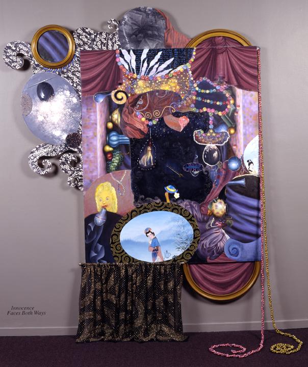 "Innocence Faces Both Ways, 96"" × 68"", mixed media on canvas, 1998"