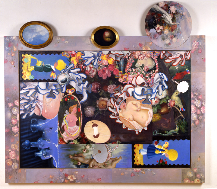 "Lure, 76"" × 84"" mixed media on canvas, 1996"