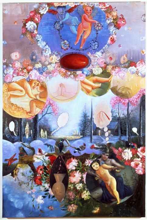 "Manic Eros, 72"" × 48"", mixed media on canvas, 1995"