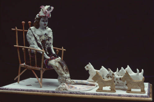 "Dog Story, 14"" × 31"" × 18"", mixed media, 1977"