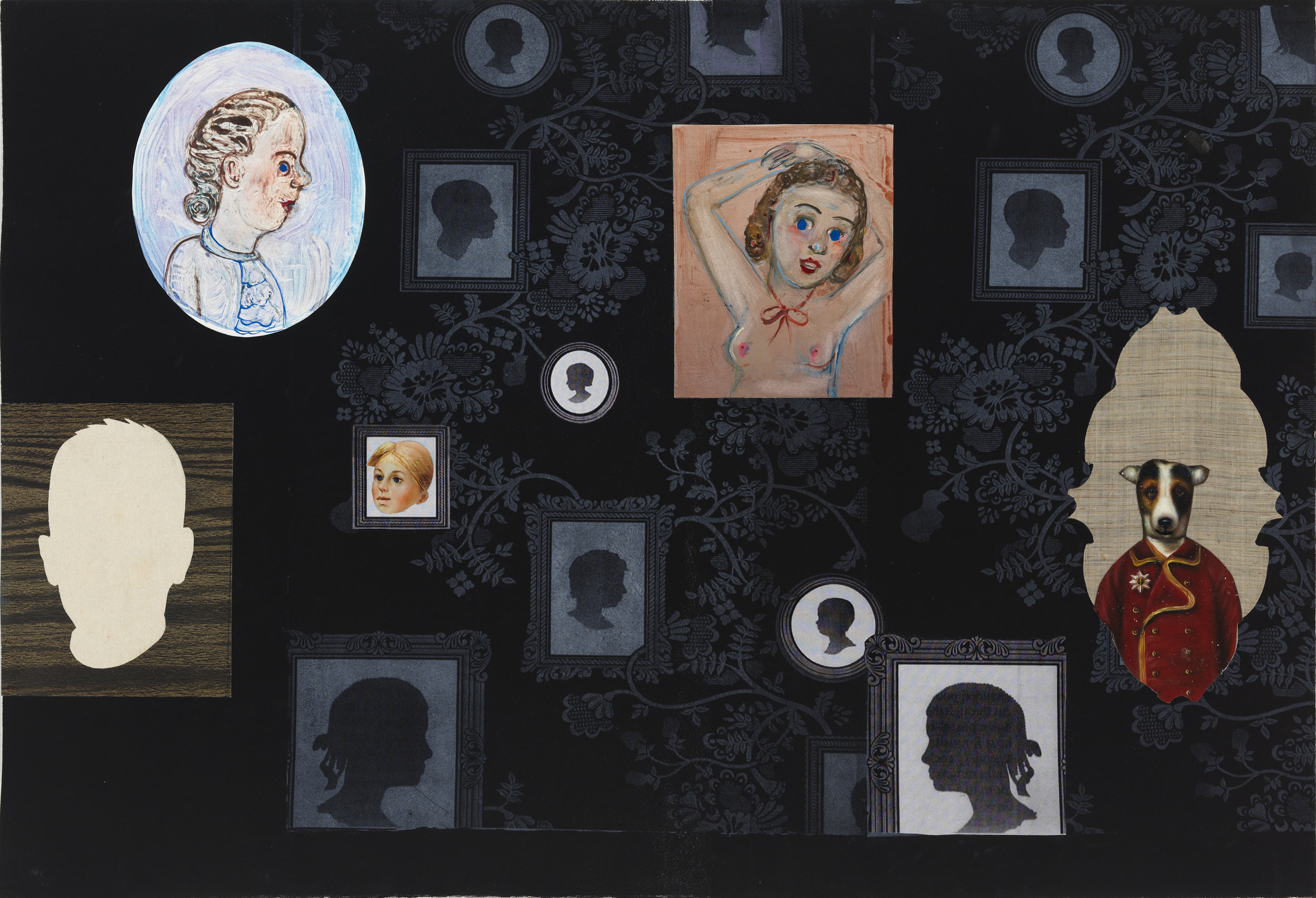"Family Portraits (His), 30"" × 42"", monoprint and mixed media on paper, 2014"