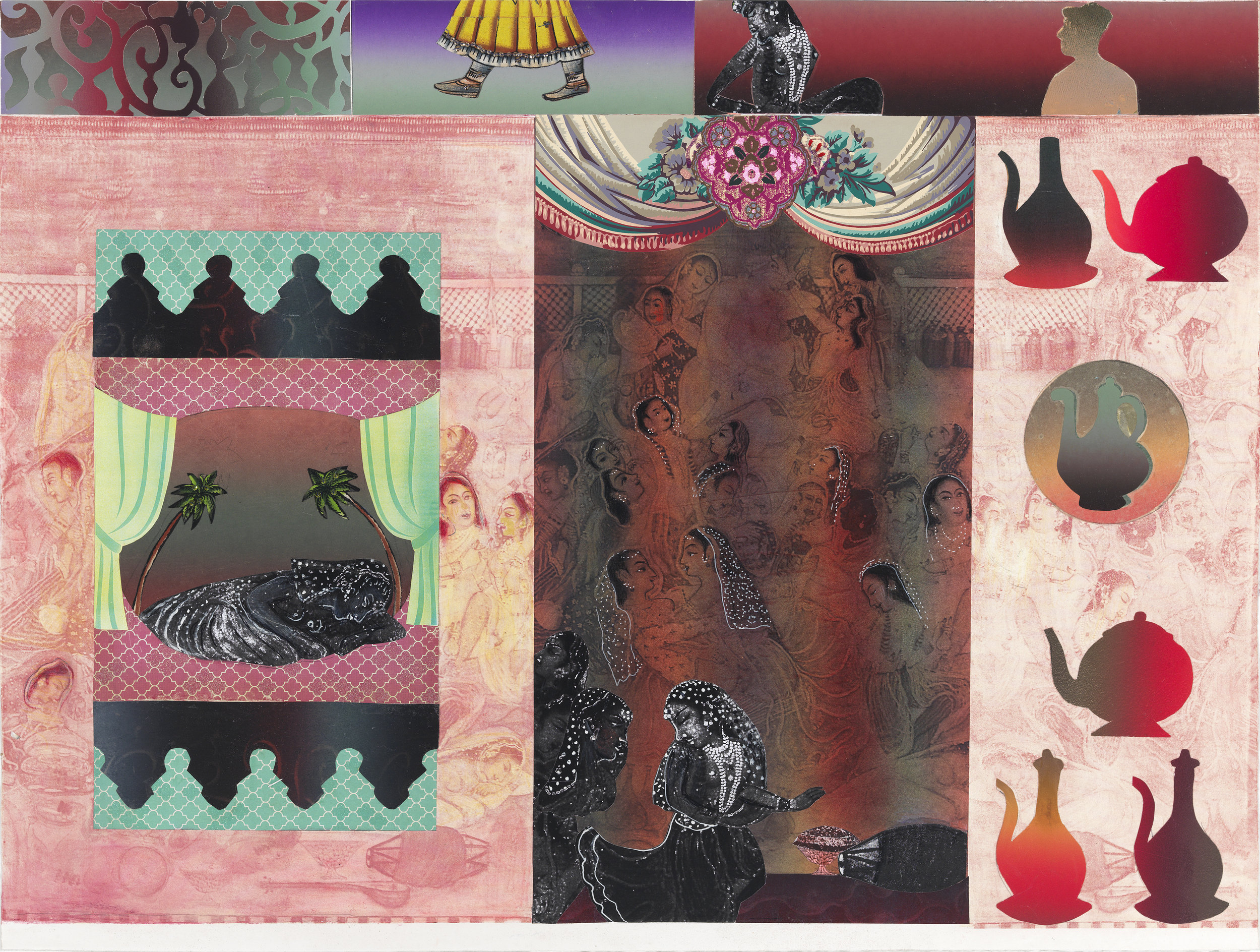 "Twice Told Tales (Evening), 33"" × 44"", monoprint and mixed media on paper, 2014"