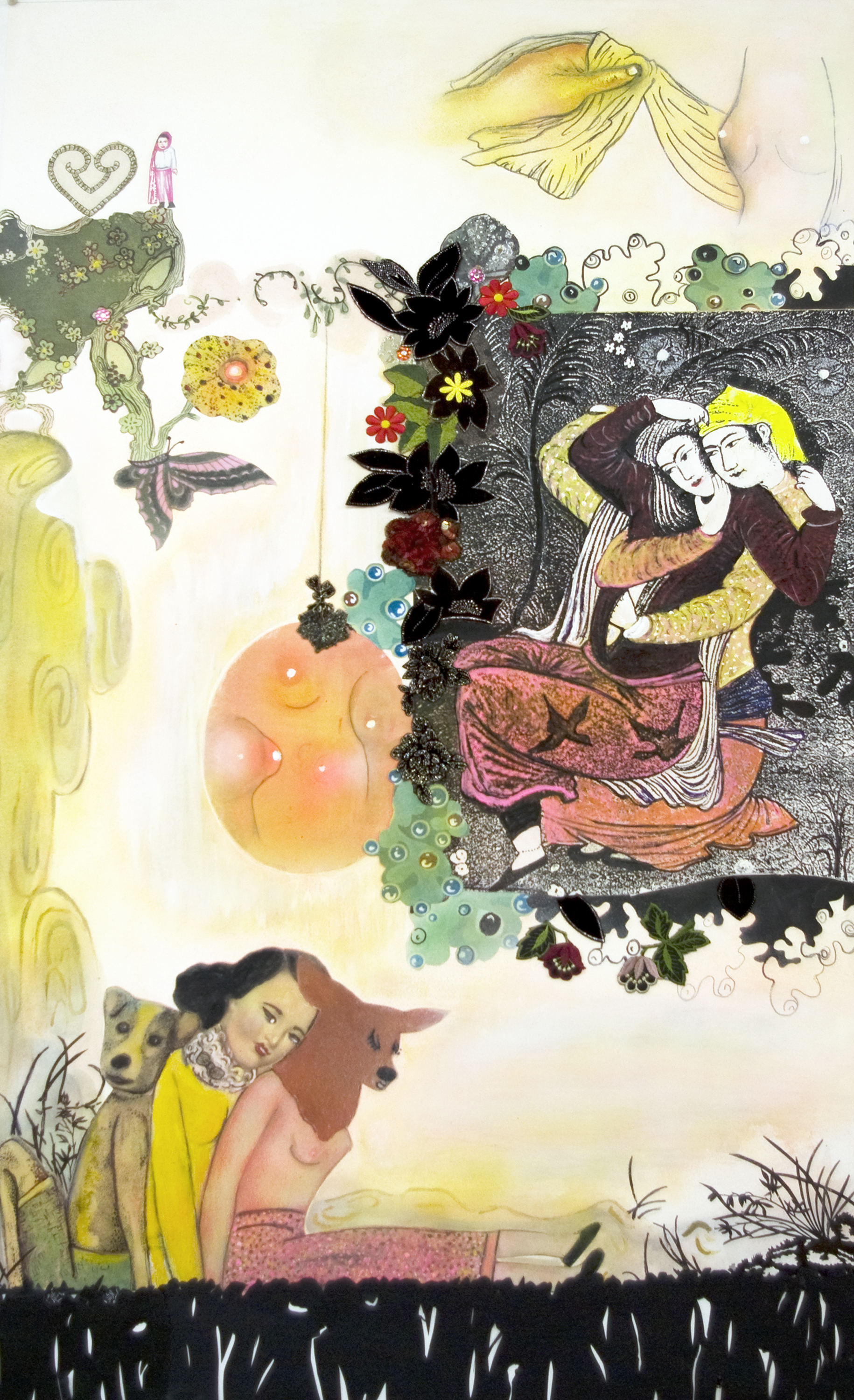 """Seduction in the Garden of Pleasure, 56"""" × 35"""", mixed media on paper, 2007"""