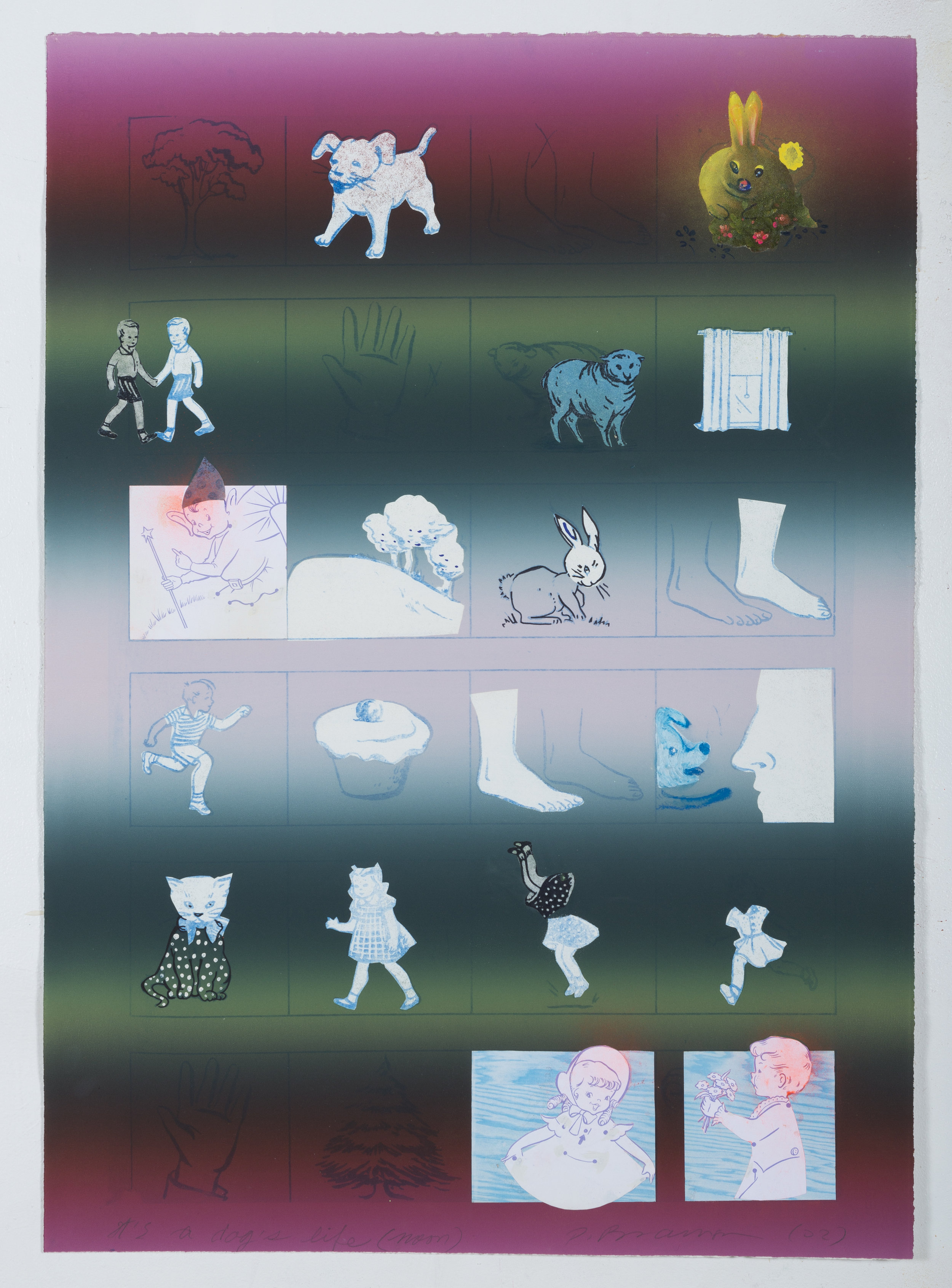 """A Day in a Dog's Life #3, 30"""" × 22"""", monoprint, 2000"""