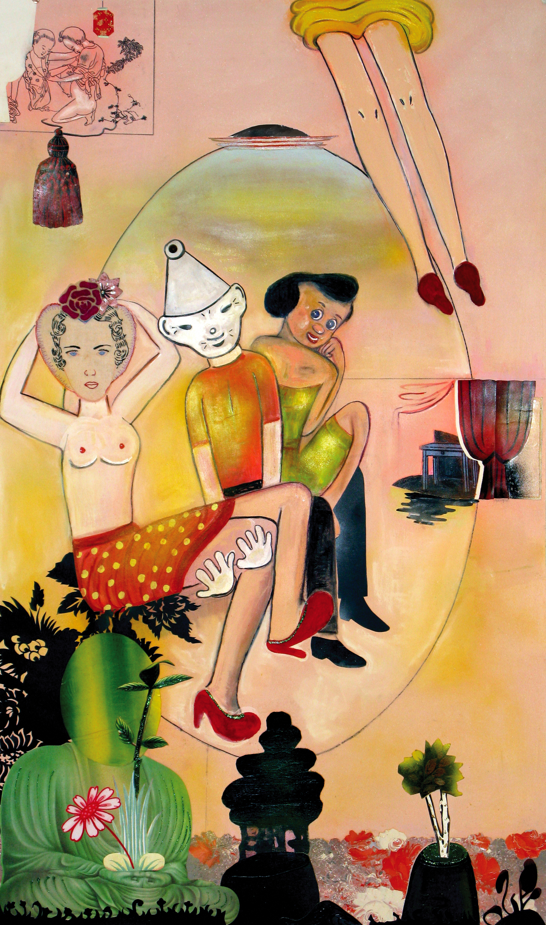 """Tin Man (Their Longings, His Desire), 54"""" × 31.5"""", mixed media collage drawing, 2009"""
