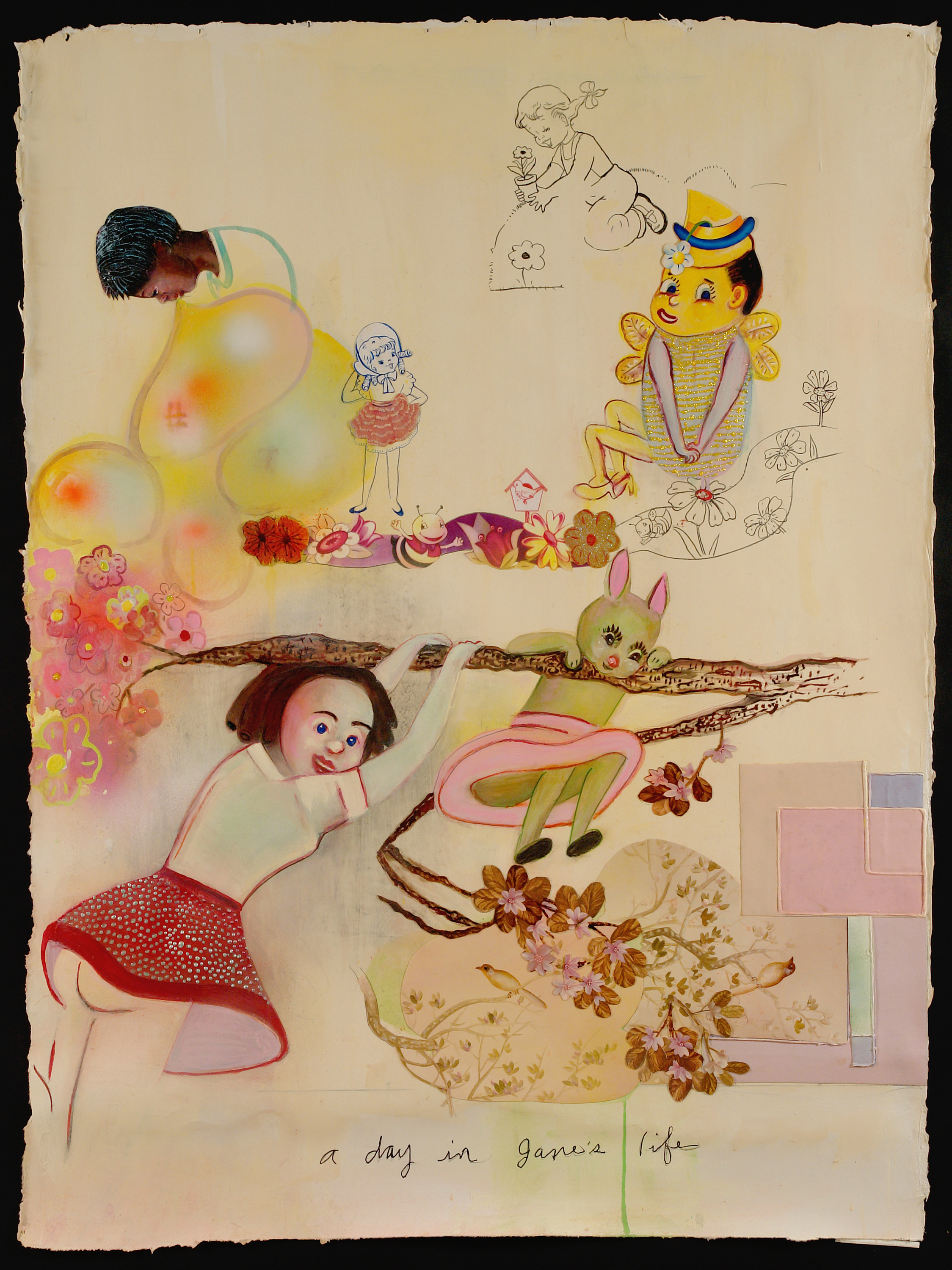 """A Day in Jane's Life, 55"""" × 41"""", mixed media and collage on paper, 2007"""