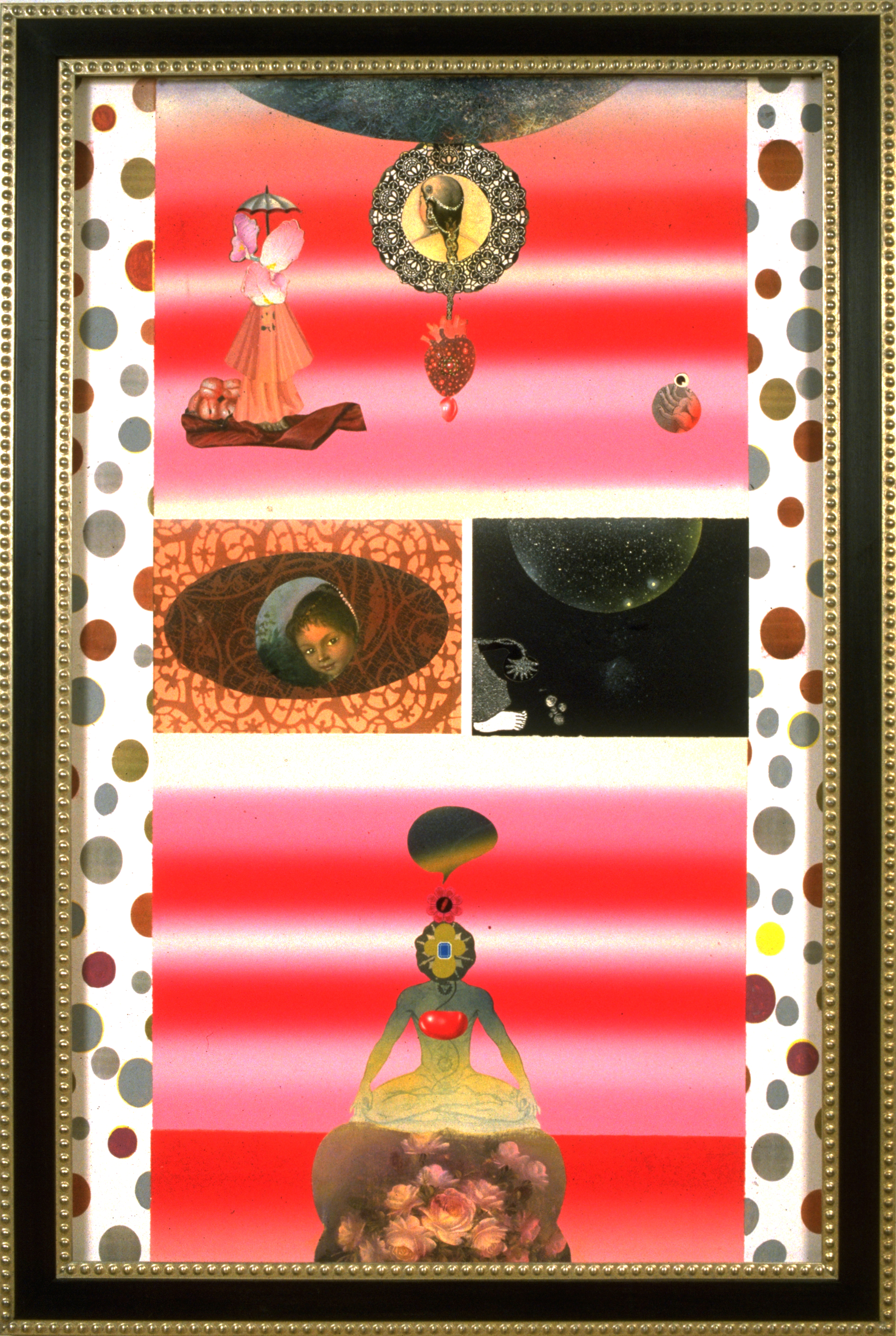 """One Soul Talking to Another (A Therapeutic Practice), 60"""" × 38"""", mixed media on paper, 2001"""