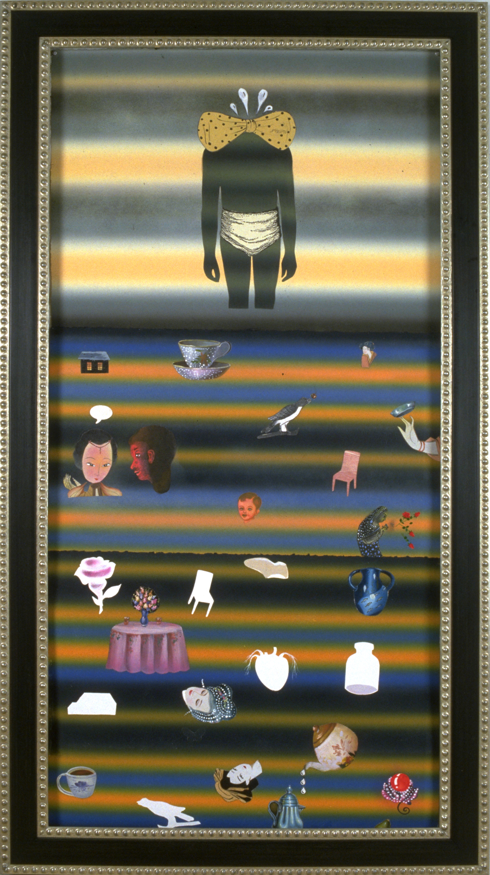 """Muteness Caused by Skepticism, 60"""" × 38"""", mixed media on paper, 2001"""