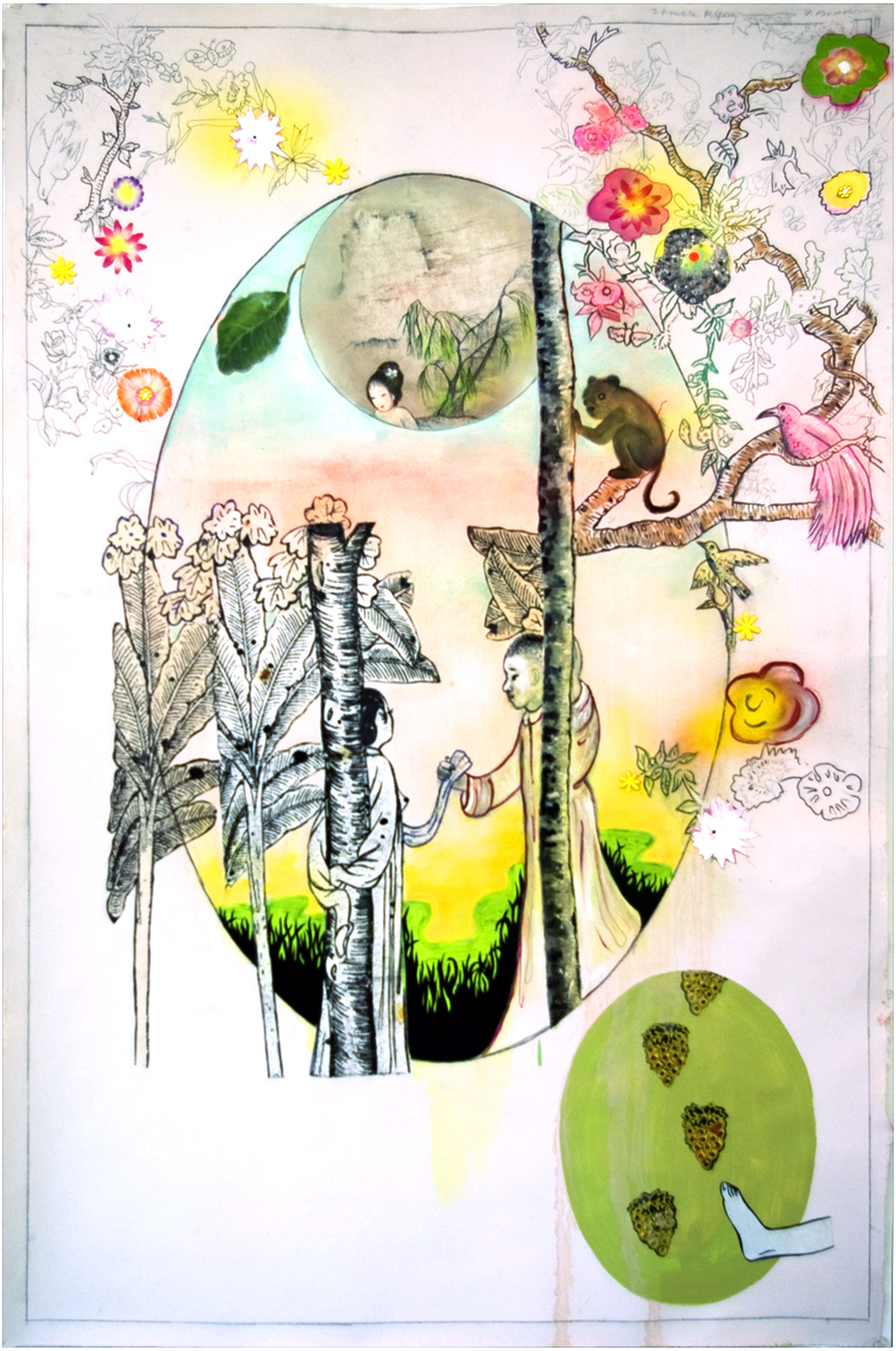 """I Tremble for You, 56"""" × 35"""", mixed media on paper, 2007"""
