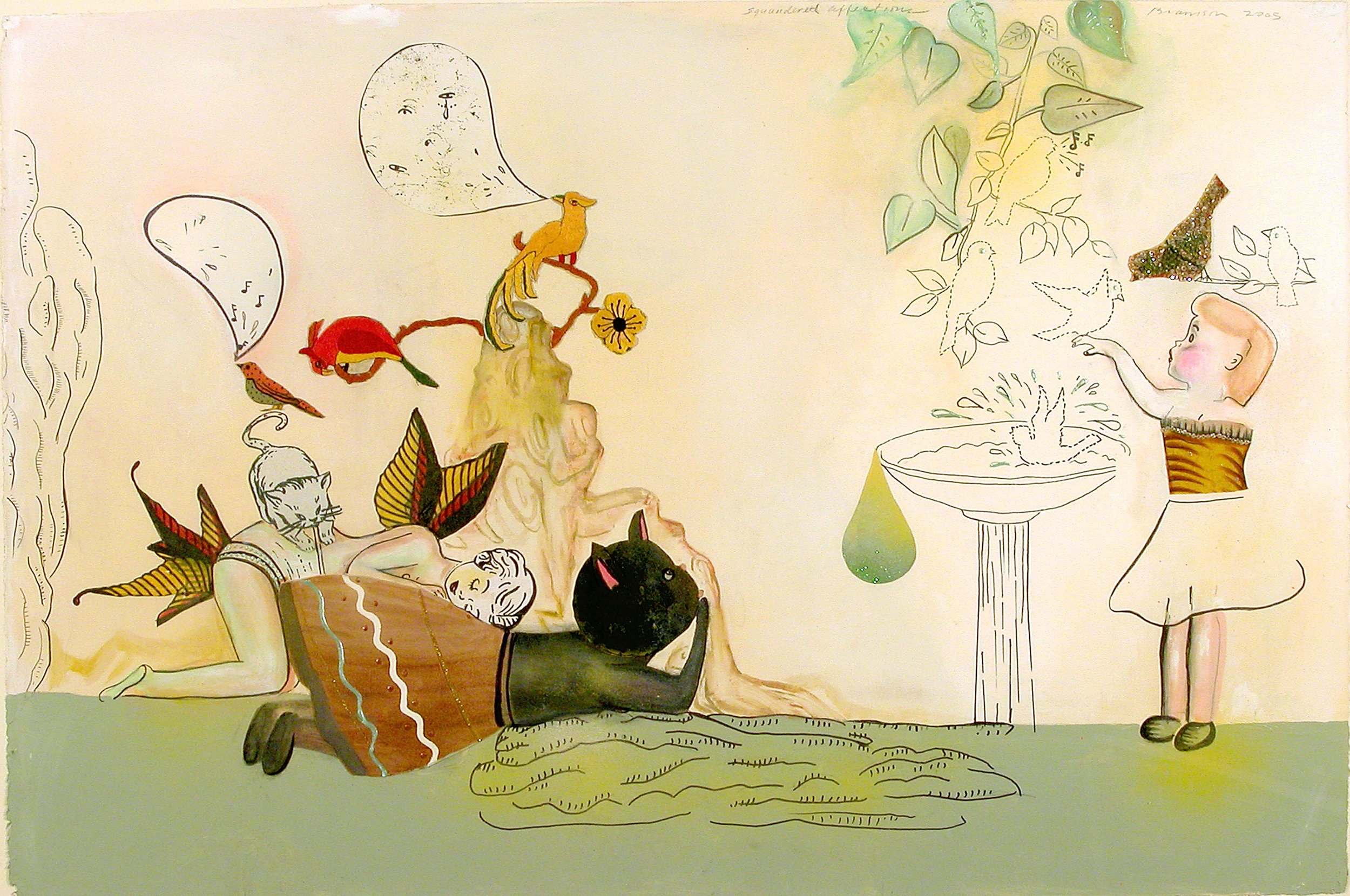 """Squandered Affections, 34"""" × 50"""", mixed media on paper, 2006"""