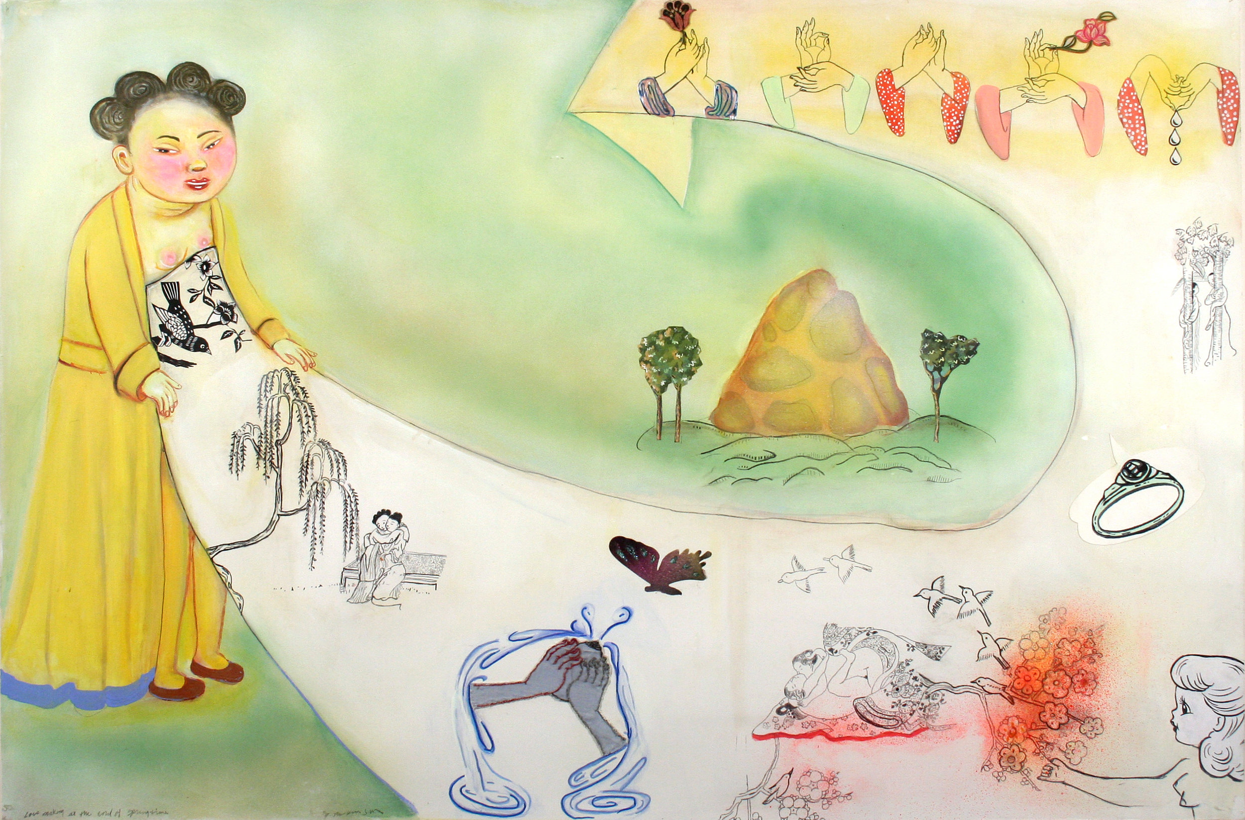 """Study for Lovemaking at the end of Springtime, 38"""" × 57"""", mixed media on paper, 2006"""