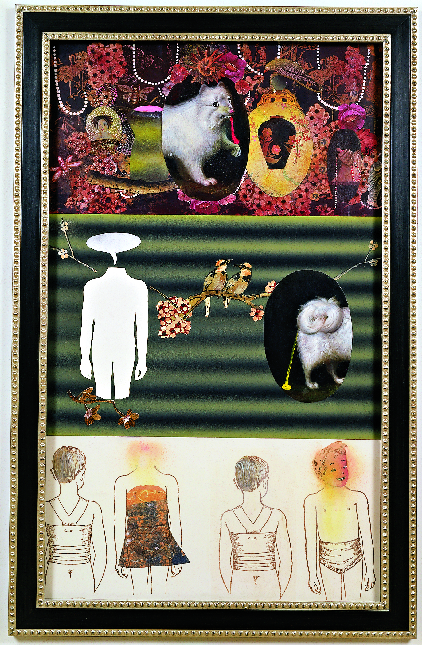 """Demons in the Garden, 60"""" × 36"""", mixed media on paper, 2001"""