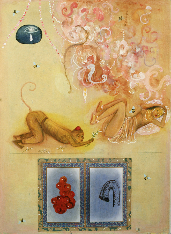 "Various forms of touching, 36"" × 24"", mixed media and collage on paper, 1997"